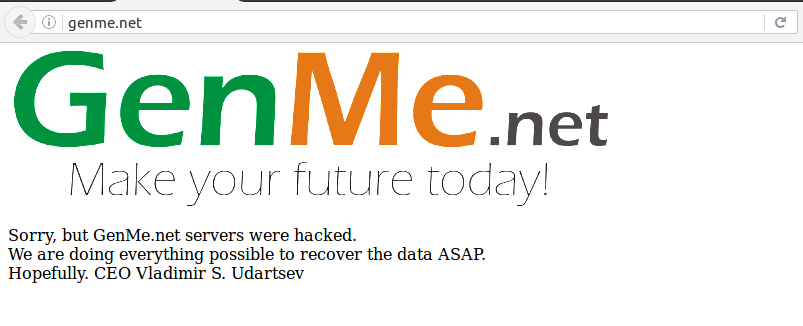 GenMe.net project have been hacked